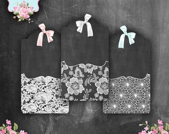 Chalkboard & LACE Digital Printable Collage Sheet - hang gift tags journaling backgrounds cards - set of 6 - Instant Download