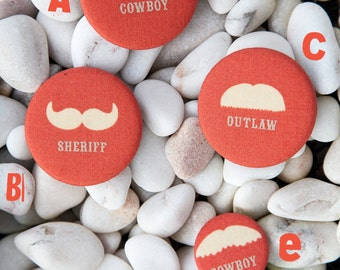 MOUSTACHE    fabric badge / pinback buttons  -  50mm and 32mm