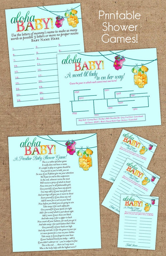 items similar to four printable luau baby shower games on etsy