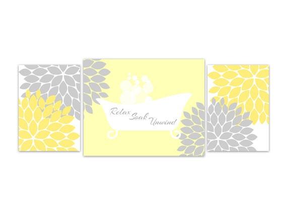 Yellow And Gray Bathroom Wall Decor : Bathroom wall art yellow and grey decor relax soak