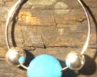 Silver Hoop Earrings with Blue Beads