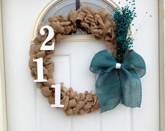 Burlap, front door, address wreath