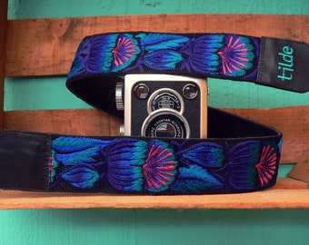 Leather camera strap, Canon Nikon camera strap, Blue camera strap, DSLR camera strap, Gift for him, Gift for her, Gift photographer - FGC3