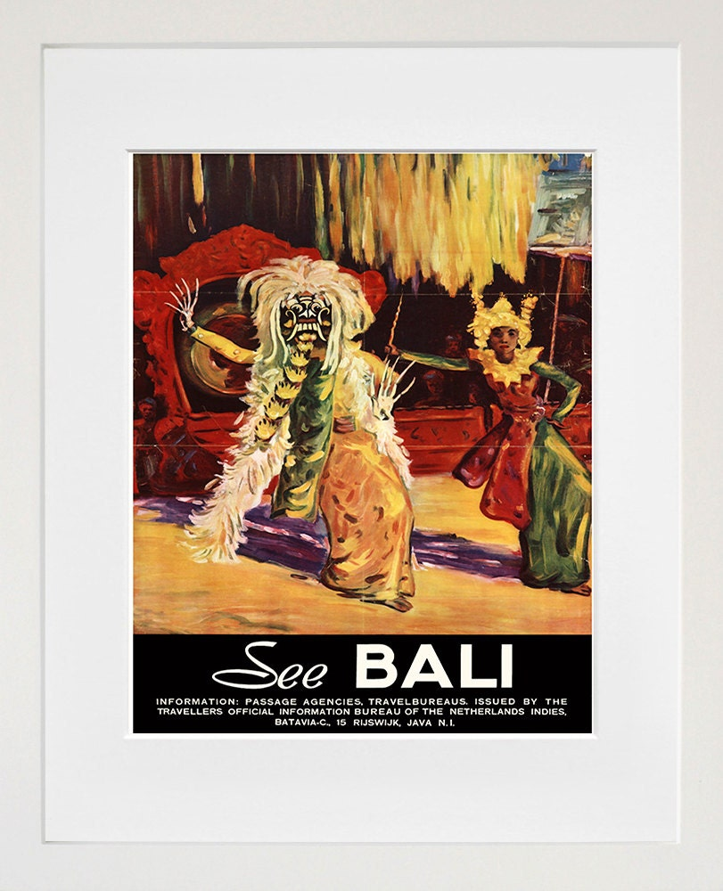Bali travel poster art print home decor xr179 for Bali home decorations wholesale