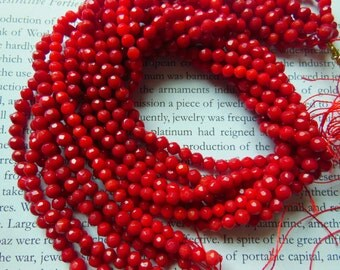 4mm faceted red coral beads, 15.5 inch