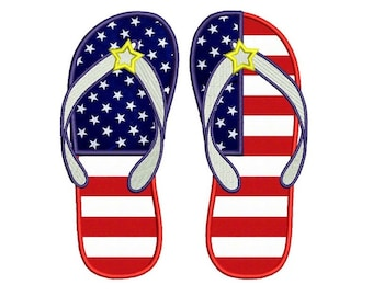 Flip Flops Applique American Flag Heart USA Patriotic  Machine Embroidery Digitized Design Pattern - Instant Download - 4x4 , 5x7, 6x10