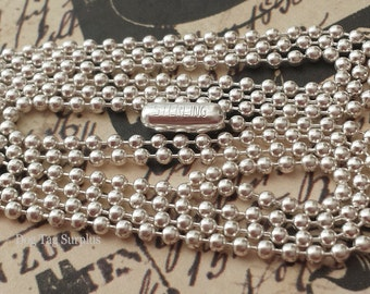 Solid 925 Sterling Silver 1.8 mm Ball Chain 27 inches Jewelry Necklace