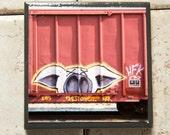 Train art coaster: Double X - Train Graffiti. Individually photographed and hand made by Frank Heflin