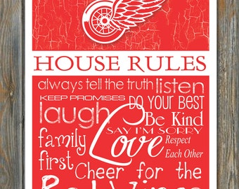 DETROIT RED WINGS House Rules Art Print - Many Sizes To Choose From!!