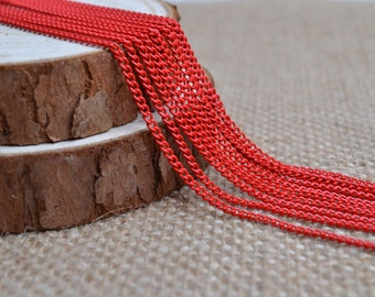 16ft of 2.7x2mm Oval Link Red Cable Chain,Iron Small Cross Chain,Red Small Chains,Small Twisted Chains-Unsoldered,Nickel and Lead Free