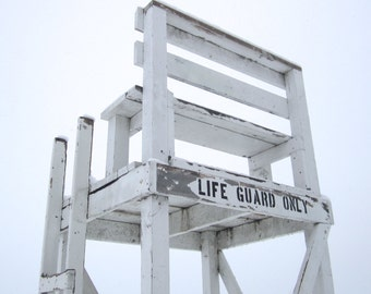 Fine Art Photography, Minneapolis Art, Lifeguard Chair, 5 x 5 Print, Blue Gray, White, Snow