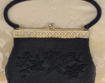 Hand Beaded Black Evening Handbag circa 1950s