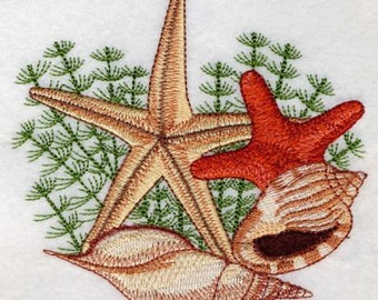 Seashell Summer Holiday Machine Embroidery Design Instant Download 4x4 5x5 hoop