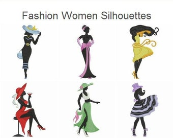 Fashion Women Silhouettes Machine Embroidery Designs Instant Download 4x4 5x5 6x6 hoop 10 designs APE1653