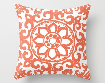 Coral Flower Pillow Cover - Modern Medallion Throw Pillow - Accent Pillow - Decorative Pillow - Designer Pillow - Home Decor - Aldari Home