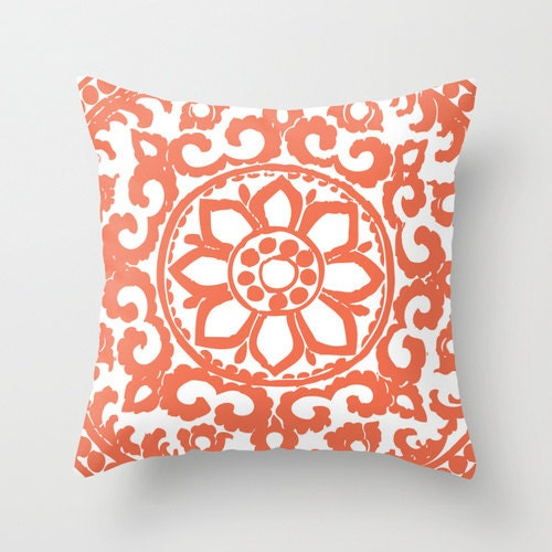 Coral Flower Pillow Cover Modern Medallion Throw Pillow