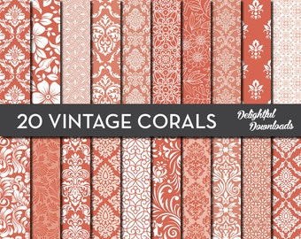 "Coral Floral Digital Paper ""20 VINTAGE CORALS"" with 20 coral floral damask digital papers for scrapbooking, cards, prints."