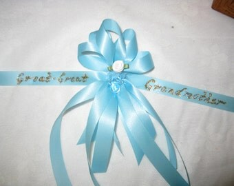 Baby Shower   Personalized Ribbon Corsage   Keepsake Corsage   Grandmother    Great Grandmother   New
