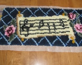 NEW PRICE!! Large music and roses latch hook -  Wall hanging - Music rug or mat