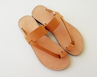 Women Toe Ring Sandals in Brown With Leather Stripe-  Handmade Greek Sandals - Women Leather Sandals