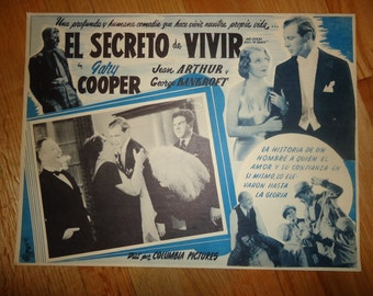 Original 1950 Re Release Mr Deeds Goes To Town Mexican Lobby Card Movie Poster Gary Cooper, Gene Arthur