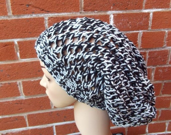 hand made knitted hat fish net hat  slouchy hat  occassion warm hat