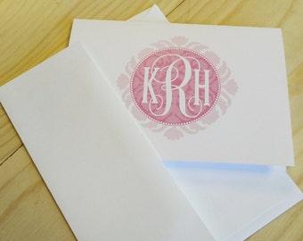Personalized Custom Monogram Folded Notecard Stationery Stationary - Set of 20