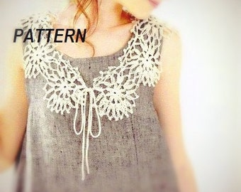 PATTERN collar crochet necklace cute peter pan ribbon