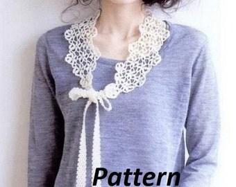 PATTERN collar crochet necklace bib peter pan tutorial easy