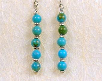 Genuine turquoise earrings, hypoallergenic titanium earwires, simple & sophisticated, southwestern elegance, bohemian, tasteful gift