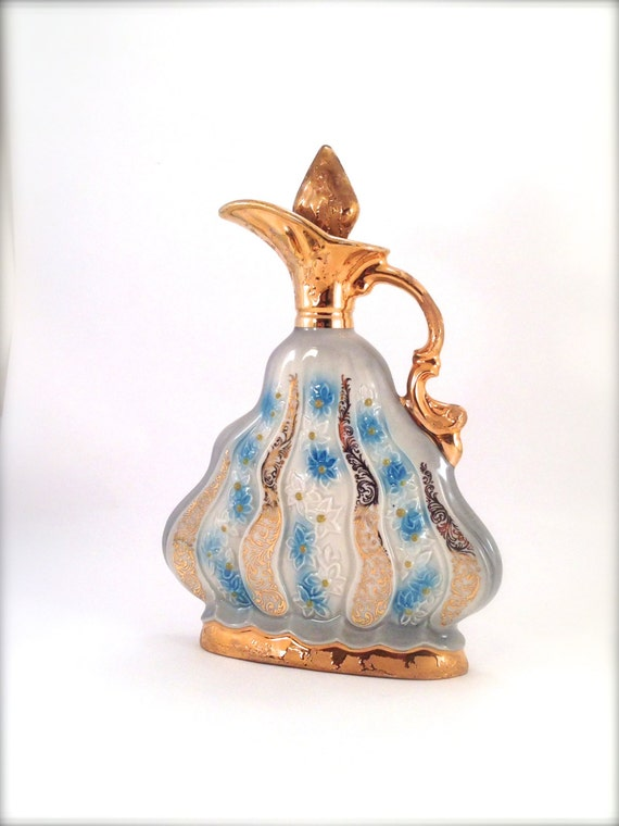 Vintage 1970 Jim Beam Whiskey Decanter Blue Flowers And