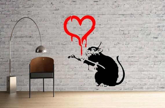 Banksy love painting rat reusable stencil for room interior for Banksy rat mural