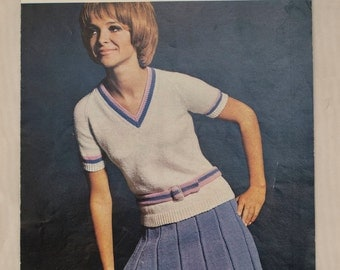 1960's Robin Knitting Pattern - v-neck belted top and skirt ensemble - kitsch picture