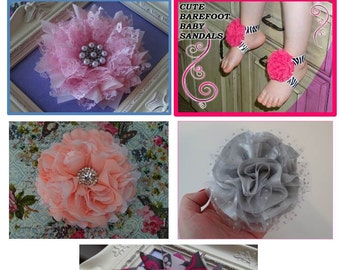 No sew fabric flower tutorial/ 5 pack Flower Tutorial/Fabric flower/barefoot sandals/how to make a fabric flower