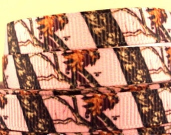 "4 Yards 3/8"" Pink Camo Tree grosgrain ribbon"