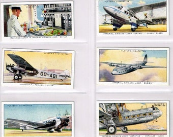 British Cigarette Card Set of 50 Cards. International Air Lines Issued in 1936 by John Player Cigarettes. Passenger Aircraft of the 1930s