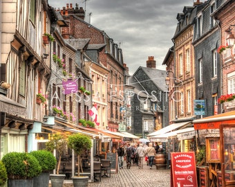 French Village Honfleur, Normandy France, French Travel Photography, 8x10, 11x14, 16x24, 20x30, Home Decor, Photography