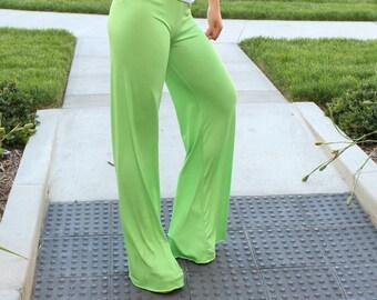 Green Palazzo Pants Wide Leg Flares Long Gaucho Palazzo Wide Leg Pant