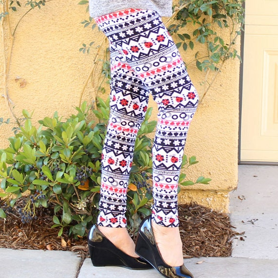 New Winter Leggings Printed Christmas Tights Pants Warm