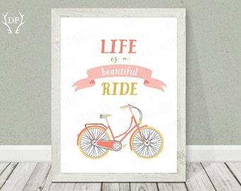 Bicycle print art | Nursery wall art | Life is a beautiful ride | Inspirational quote | Printable bike | Baby girl pinky cream room decor