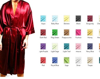 Mens Silk Robe  / Nightwear Lounge Wear - Multiple Colors and Sizes