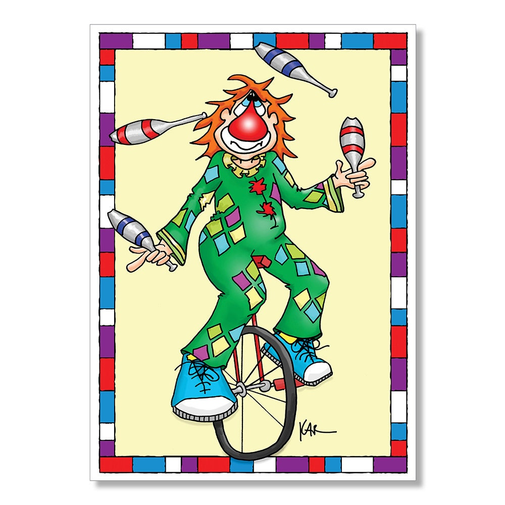 Clown Birthday Card Clown riding Unicycle clown Juggling – Clown Birthday Cards
