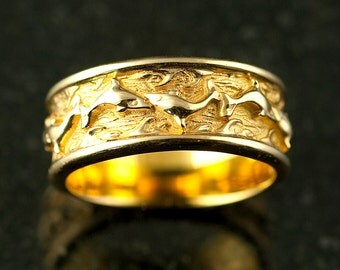 kissing dolphins wedding band - Dolphin Wedding Rings