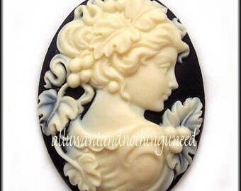 2 Ivory Color on Black CAMEOS Demeter Goddess of the Harvest Cameo with Grapes 40mm x 30mm Resin Cameos for Making Costume Jewelry