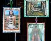 Frida Kahlo Mixed Media Ornaments, Set of 3, Folk Art, Mexican Artist, Rustic, Altar Art