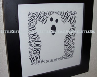 Halloween Ghost Typography Word Art Print