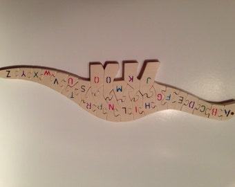 Wood Alphabet Dinosaur Puzzle