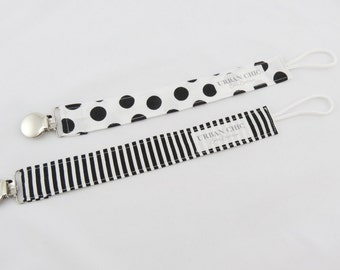 Pacifier Clips - Black & White