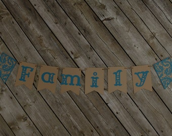 Family banner, Adoption photo prop, Photo prop banner, Turquoise banner, Wedding banner