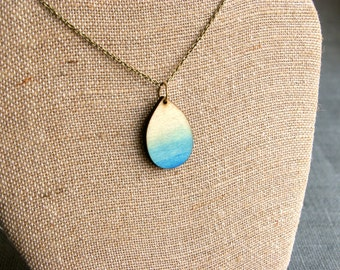 Ombre Jewelry- Wood Jewelry - Teardrop Necklace - Teardrop Jewelry - Ombre Necklace